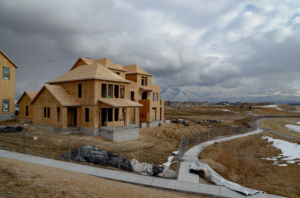 (Francisco Kjolseth | The Salt Lake Tribune) Ongoing development takes shape around Oquirrh Lake at Daybreak on Thursday, Jan. 9, 2020. Daybreak, the 4,100-acre master planned community in South Jordan, illustrates the idea of blending higher density housing and walkable community design with ample amounts of open space. That smart growth land use approach is being required by Salt Lake County for a proposed development called Olympia Hills, a 933-acre residential and commercial project proposed west of Herriman.