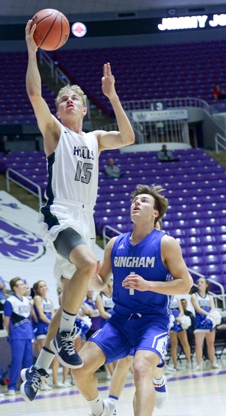 (Leah Hogsten | The Salt Lake Tribune) Copper Hills' Jake Jensen (15) had 6 points in the first half. Copper Hills faces Bingham in the 6A High School Boys' Basketball Tournament opening game at Weber State University's Dee Events Center in Ogden, Tuesday, Feb. 27, 2018.