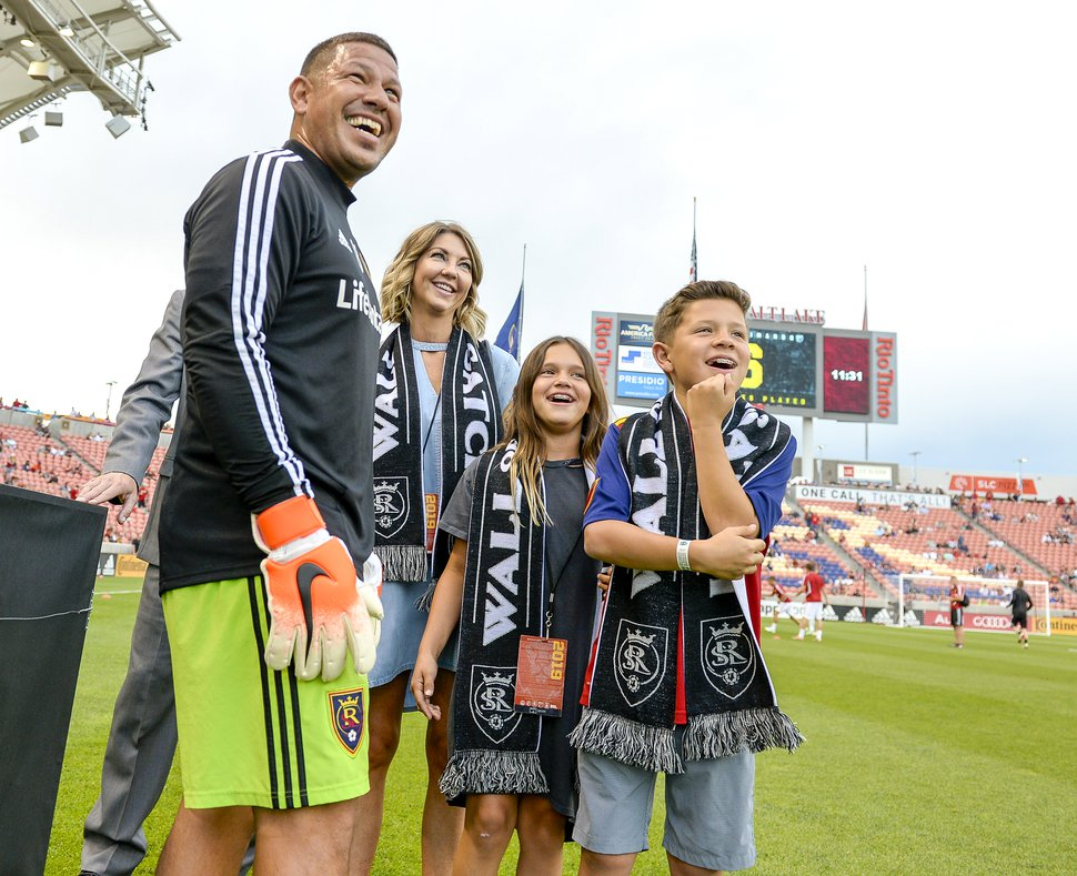 (Leah Hogsten | Tribune file photo) Nick Rimando, his wife, Jacqui, daughter Benny and son Jet were celebrated on the home pitch Saturday, July 13, 2019, at Rio Tinto Stadium for completing his 500th MLS regular-season game against the San Jose Earthquakes in San Jose. Rimando is the all-time MLS leader in wins, shutouts, games played and saves more than any other MLS goalkeeper.