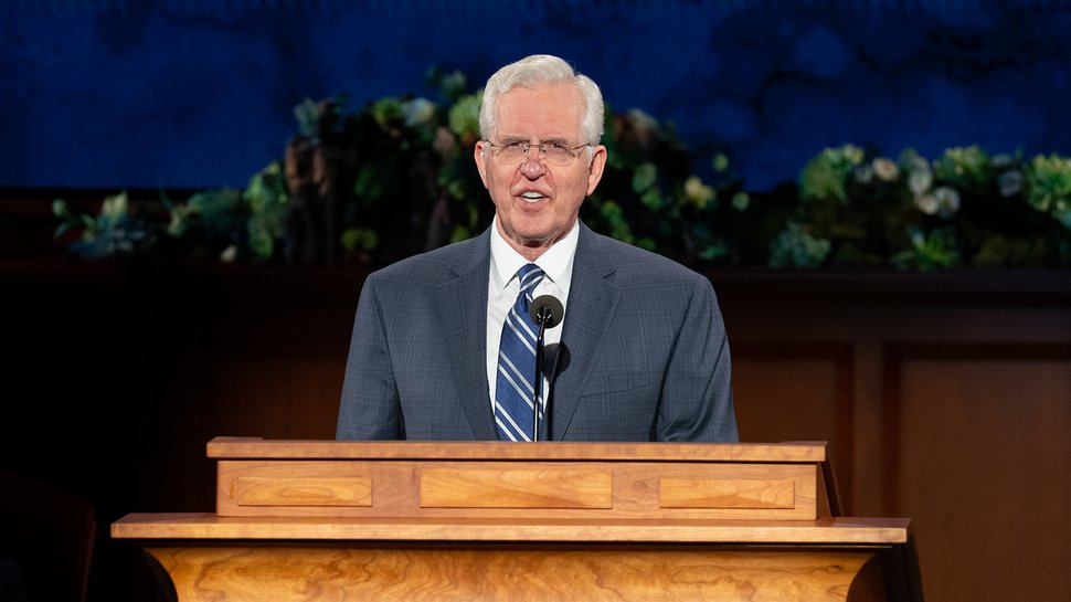(photo courtesy The Church of Jesus Christ of Latter-day Saints) Elder D. Todd Christofferson speaks during the Sunday afternoon session of General Conference on April 5, 2020.