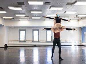 "(Beau Pearson  |  Courtesy of Ballet West) Principal artists Beckanne Sisk and Chase O'Connell rehearse for Ballet West's season opener, ""Nine Sinatra Stories."" Because of COVID-19 restrictions, only married and cohabitating dancers are performing duets for this show."