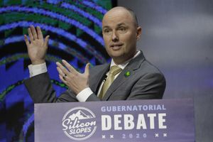 (Rick Bowmer | AP file photo) In this Jan. 31, 2020, file photo, Utah Lt. Gov. Spencer Cox speaks during a debate for Utah's 2020 gubernatorial race, in Salt Lake City. Cox emerged from the four-way GOP primary on June 30 as the party's nominee. He faces Democrat Chris Peterson in the Nov. 3 election. Cox has declined an early debate, with his campaign saying it's too early to debate.