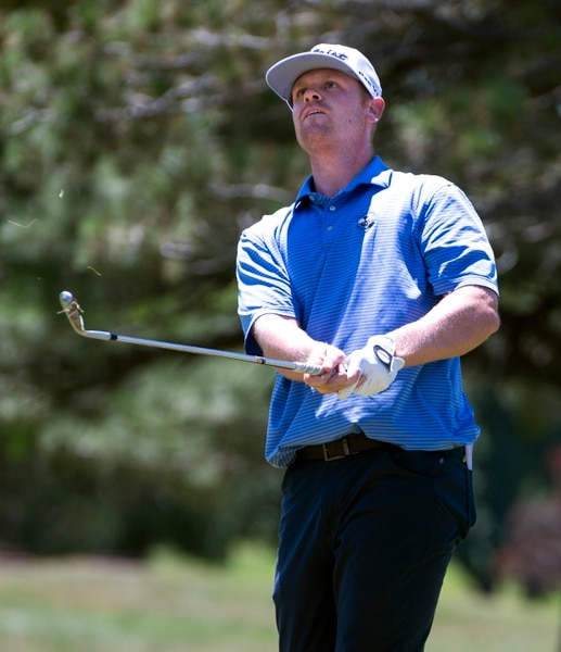(Rick Egan | The Salt Lake Tribune) Patrick Fishburn from Farr West, UT, watches his approach shot land on the green, in second round of the Utah Championship golf event on the Web.com Tour at Oakridge Country Club in Farmington. Fishburn finished 8 under par, Friday, July 13, 2018.