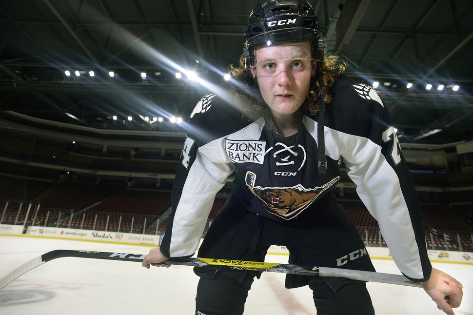 Scott Sommerdorf   The Salt Lake Tribune Utah Grizzlies hockey player Travis Howe poses for a portrait after practice, Thursday, March 2, 2017.