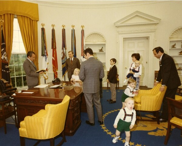 (photo courtesy Huntsman family) The Huntsman family visits with President Richard Nixon in the Oval Office in 1971.