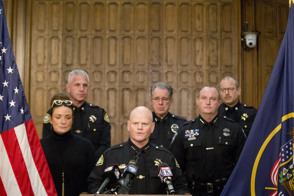 Provo Police Chief Richard Ferguson speaks during a news conference to announce that Provo Police Officer Joseph Shinners was killed in the line of duty the night before, at the Provo City Center building Sunday, Jan. 6, 2019, in Provo, Utah. Shinners, who was shot and killed while trying to apprehend a fugitive, was a three-year veteran of the force who managed to shoot back and strike the suspect at least once after he was hit by gunfire. (Evan Cobb/The Daily Herald via AP)