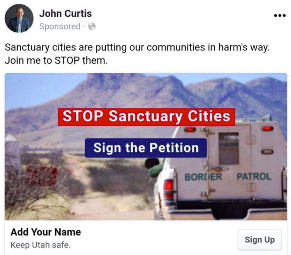 A screenshot of John Curtis' campaign ad shared with The Salt Lake Tribune.