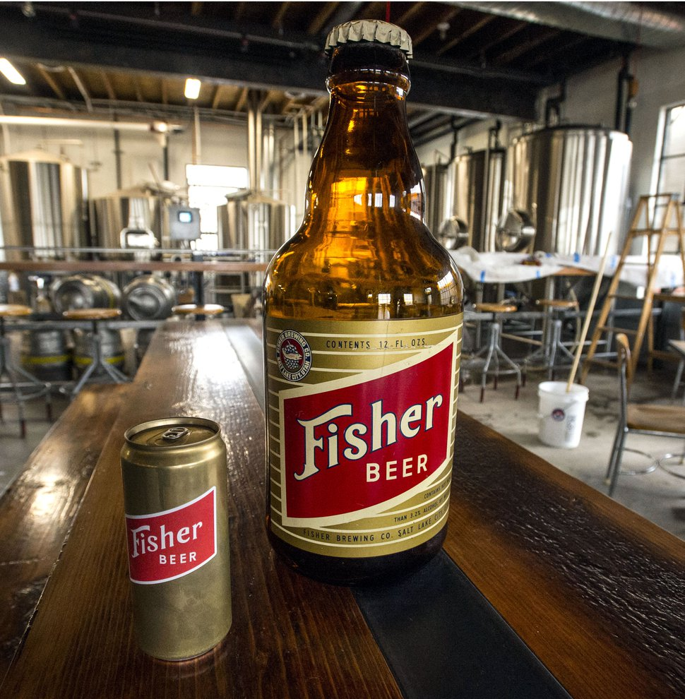 Steve Griffin | The Salt Lake Tribune An original giant plastic beer bottle and a current can of beer for the A. Fisher Brewing Company, one of the oldest names in Utah beer history. The brewery makes a modern-day comeback this month. Tom Fisher Riemondy, one of five partners who have resurrected A. Fisher Brewing Company, is the great, great grandson of Albert Fisher, a German immigrant who founded the original brewery in Utah in 1884. The brewery survived prohibition and flourished through the early 20th century, becoming one of the largest breweries to produce beer in the Intermountain West. In 1960, after a series of acquisitions by larger breweries, the label disappeared in Salt Lake City Friday February 17, 2017