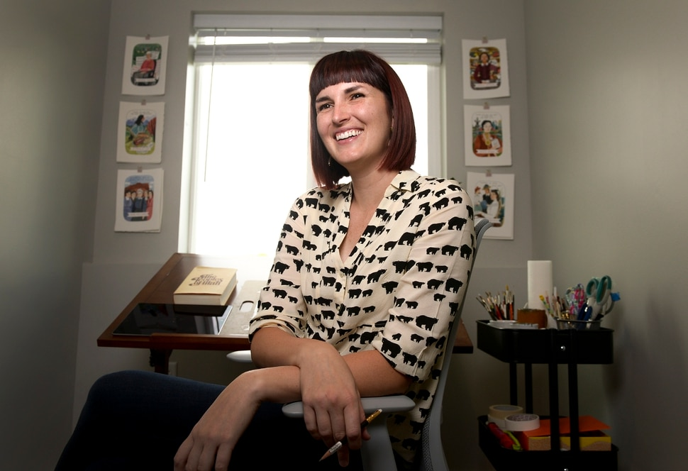 Leah Hogsten | The Salt Lake Tribune Brooke Smart draws and watercolors illustrations in her home studio, Thursday, October 4, 2018. Smart is an illustrator hired to create a portrait collection for Better Days 2020. The organization is working to educate people about women who played important roles in Utah history. Smart's series will feature 50 women and men who played formative roles in Utah history.