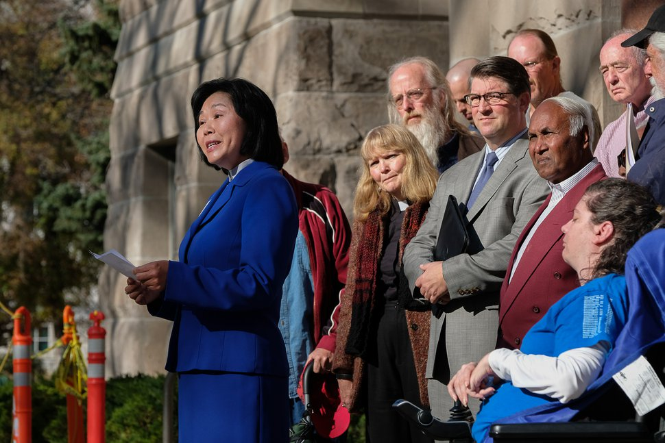 (Francisco Kjolseth   Tribune file photo) The Rev. Elizabeth McVicker of the First United Methodist Church gathers in 2016 with other church leaders, community groups and advocates to call for more affordable housing in Salt Lake City.