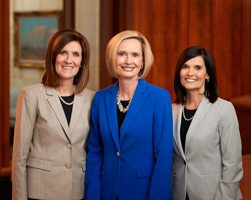 (Photo courtesy of The Church of Jesus Christ of Latter-day Saints) President Bonnie H. Cordon, center, first counselor Michelle D. Craig, left, and second counselor Becky Craven in 2018