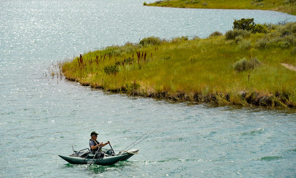 (Francisco Kjolseth | The Salt Lake Tribune) Mike Smith of Murray ventures out onto Little Dell Reservoir, a protected watershed, for a chance at some cutthroat trout on Thursday, July 25, 2019.