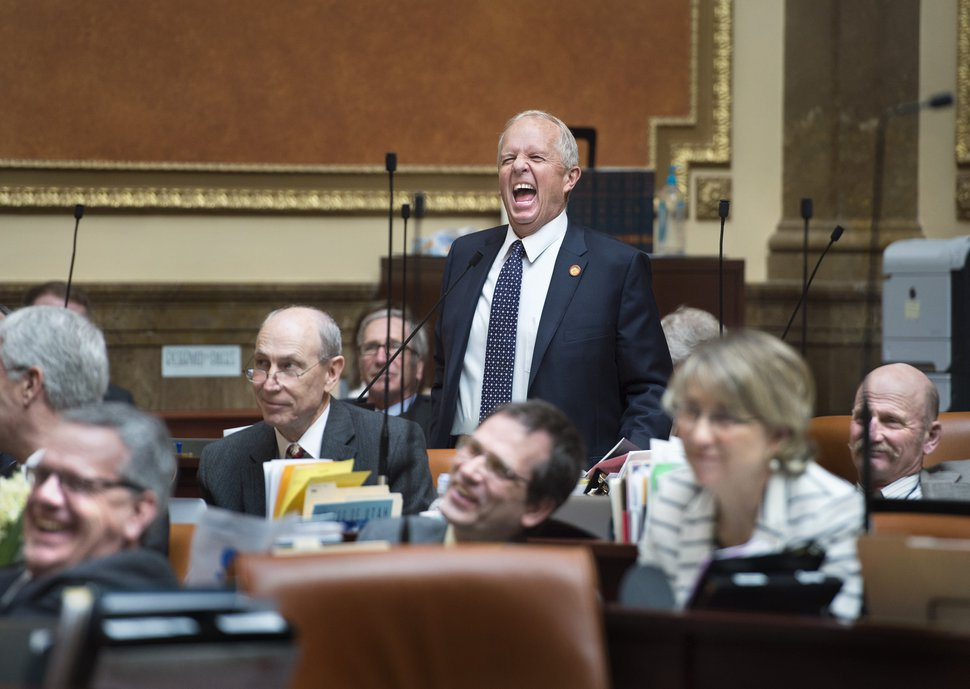 Scott Sommerdorf | The Salt Lake Tribune Rep. Mike Noel, R-Kanab, laughs as he announced that he moved to circle his bill HB481 in the Utah House of Representatives, Wednesday, March 7, 2018. He then added while explaining the move,