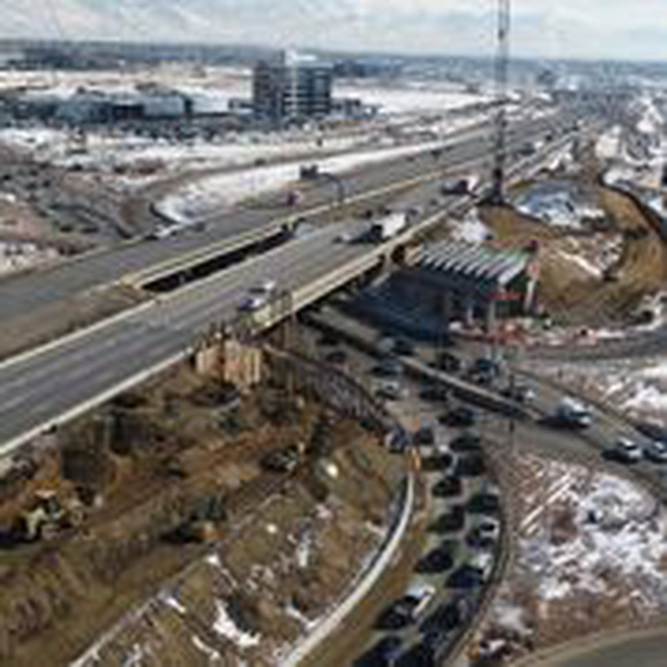 (Photo courtesy of Utah Department of Transportation) Aerial photo of construction at interchange of Interstate 15 and State Road 92 in Lehi.