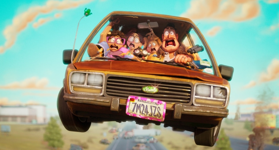 (Image courtesy of Sony Pictures Animation) The Mitchell family — from left: Linda (voiced by Maya Rudolph), Katie (voiced by Abbi Jacobson), their dog Monchi, Aaron (voiced by Michael Rianda) and Rick (voiced by Danny McBride) — try to live without their devices on a road trip in the animated comedy Connected.