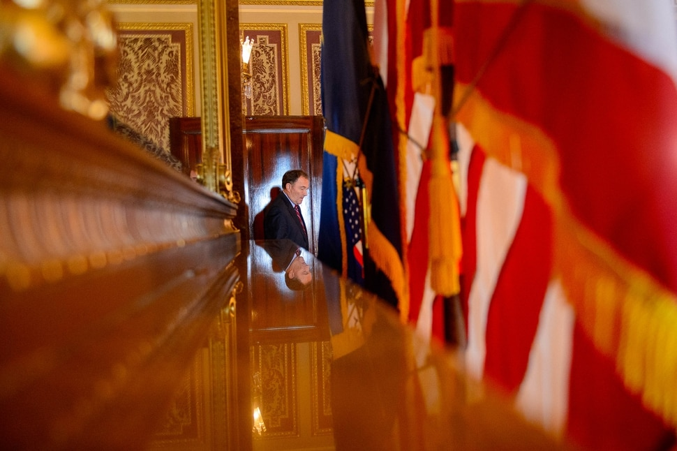 (Trent Nelson | The Salt Lake Tribune) Governor Gary Herbert arrives at a news conference to condemn the actions of protesters who occupied the Chamber of Commerce Building Tuesday. Herbert spoke in Salt Lake City on Wednesday July 10, 2019.