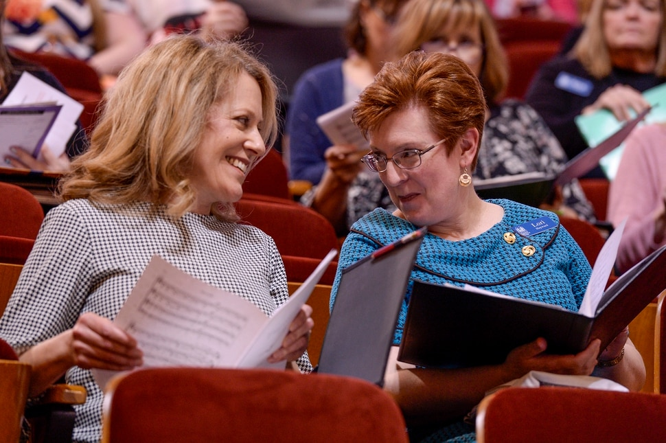 Leah Hogsten | The Salt Lake Tribune Debbie Matheson, left, talks with her docent choir member Lori Hayward. Two men and two women were chosen through a social media contest to sing with The Tabernacle Choir at Temple Square on Sunday, April 14, 2019.