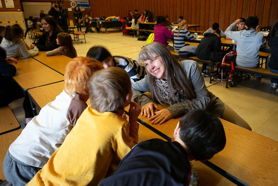 (Trent Nelson | The Salt Lake Tribune) School counselor Caisa Pope with students in the after school program at Salt Lake City's Bennion Elementary, which might be closing due to low enrollment. The school district is holding a meeting Tuesday Feb. 19, 2019 to discuss the issue and hear from parents.