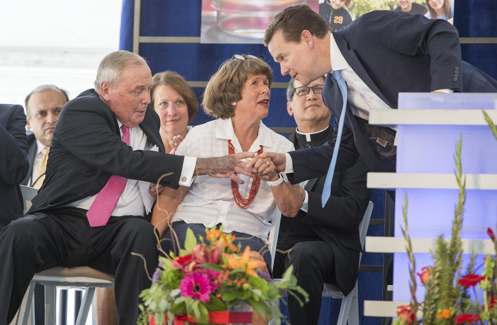 Leah Hogsten | The Salt Lake Tribune l-r Peter Huntsman, CEO of the Huntsman Cancer Foundation and President and CEO of the Huntsman Corporation is thanked by his father and mother, Jon M. Huntsman Sr. and Karen Huntsman during the dedication ceremony of the Primary Children's and Families' Cancer Research Center, June 21, 2017. Huntsman Cancer Institute (HCI) dedicated the Primary Children's and Families' Cancer Research Center, a world-class facility dedicated to advancing cancer research and patient care.