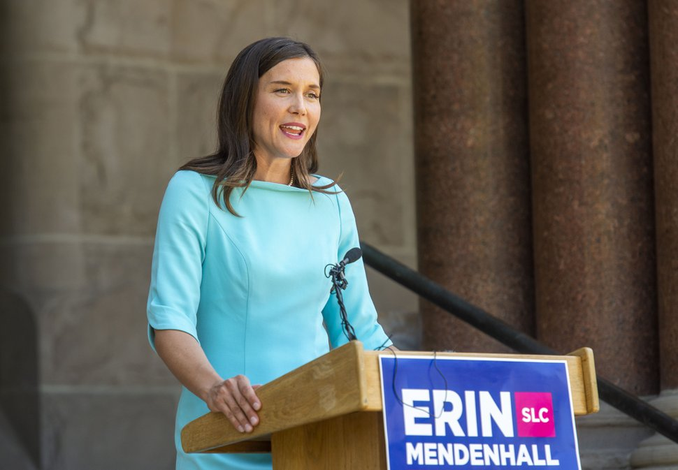 (Rick Egan | The Salt Lake Tribune) Salt Lake City Mayor candidate, Erin Mendenhall, talks about the next stage of her campaign, after finishing with the most votes in the partial results from yesterdays primary election, in the Salt Lake City Mayor's race. Wednesday, Aug. 14, 2019.