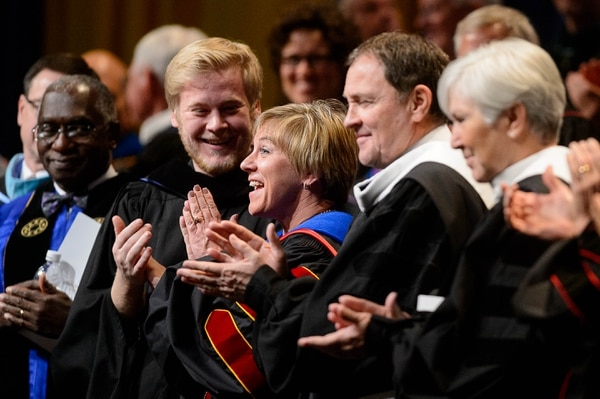 Trent Nelson | The Salt Lake Tribune Deneece Huftalin receives a standing ovation after her inauguration as president of Salt Lake Community College in Taylorsville, Friday January 9, 2015.