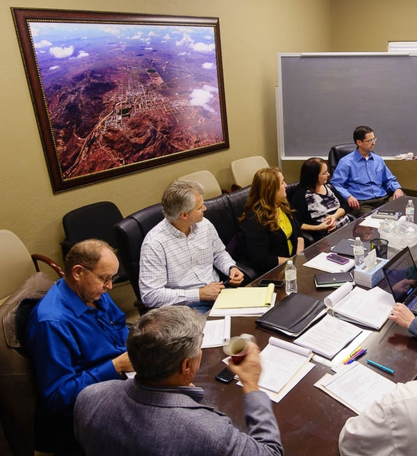 Trent Nelson | The Salt Lake Tribune Members of the board of the United Effort Plan trust during a meeting in Hildale, Saturday February 11, 2017.
