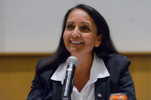(Trent Nelson | The Salt Lake Tribune) Rosie Rivera at the Salt Lake County Sheriff Candidates Forum in Sandy, Thursday August 3, 2017. Six candidates are seeking the nomination for sheriff, a job vacated by Jim Winder, who is now the police chief in Moab.