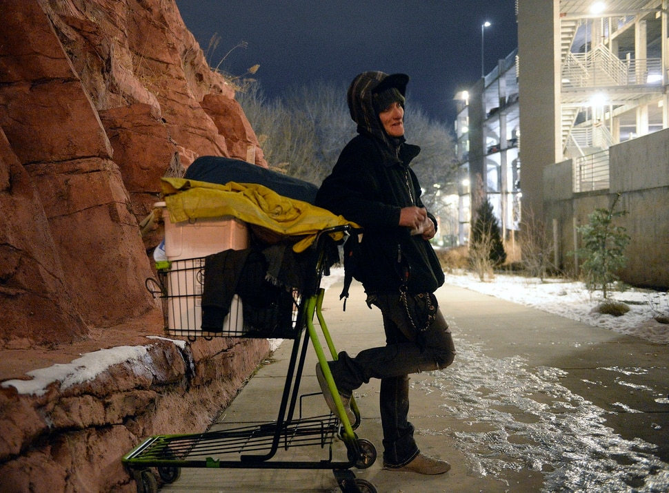 (Al Hartmann | The Salt Lake Tribune) Tammy, who said that she's been homeless for the past 13 years, was pushing her shopping cart up a walkway in Sugar House when she met with volunteers who were counting homeless people for the annual Point In Time survey in Salt Lake City at 5 a.m. Thursday, Jan. 25, 2018.