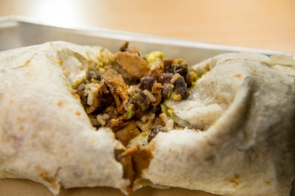 (Trent Nelson | The Salt Lake Tribune) The Sin Carne Burrito at Boltcutter, a new vegan/vegetarian restaurant in Salt Lake City, Friday, Feb. 16, 2018.