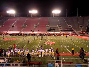 (Trent Nelson  |  The Salt Lake Tribune) The Utah Utes host the USC Trojans, NCAA football at Rice-Eccles Stadium in Salt Lake City on Saturday, Nov. 21, 2020.