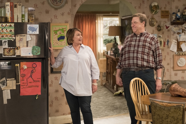 Roseanne Barr, left, and John Goodman in a scene from the comedy series