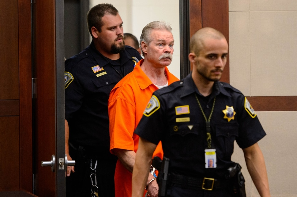 (Trent Nelson | The Salt Lake Tribune) Douglas Lovell is escorted into the courtroom in Ogden for an evidentiary hearing on Monday, Aug. 5, 2019. A jury in 2015 sentenced Douglas Lovell to be executed for killing 39-year-old Joyce Yost in 1985. Lovell has been appealing the decision.