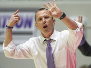 (Rick Egan  |  The Salt Lake Tribune) Weber State Wildcats head coach Randy Rahe, shouts instructions to his players in basketball action between Brigham Young Cougars and Weber State Wildcats, at the Dee Event Center in Ogden, Saturday, Dec. 1, 2018.