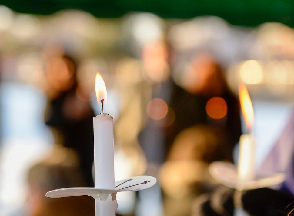(Leah Hogsten | The Salt Lake Tribune) The candlelight memorial in honor of the late Sherry Black at Wasatch Lawn Memorial Park, Nov. 30, 2019. Nine years ago, on Nov. 30, 2010, Black was murdered at the bookstore she ran with her husband, B&W Billiards and Books, at 3466 S. 700 East. Black's killer has never been found.