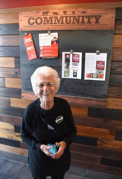 (Francisco Kjolseth | The Salt Lake Tribune) After 25 years at Arby's, 94-year-old Dorothy Bale has no plans to retire from the job she started when she was 69. Working at the same location at 2284 E. 3900 South in Salt Lake, the community board celebrates her time served where she has worked under 21 managers over the years.