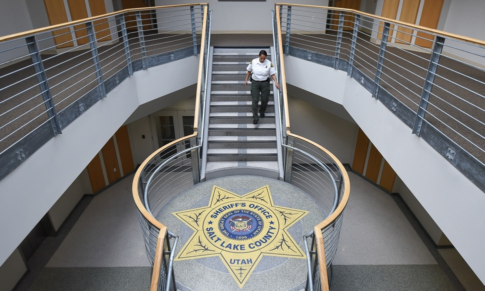 (Francisco Kjolseth | The Salt Lake Tribune) Rosie Rivera, the first woman in Utah to serve as any county's sheriff walks the halls of the Salt Lake County Sheriff's Office Building in Salt Lake City on Monday, Dec. 11, 2017.