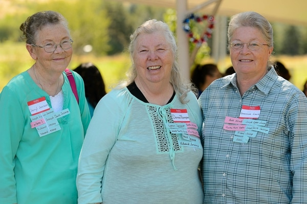 (Trent Nelson | The Salt Lake Tribune) Sisters Jeryl Jenson, Donna Thompson, and Genevieve Lewis at the Jessop Family International Reunion in Millville Saturday August 12, 2017.