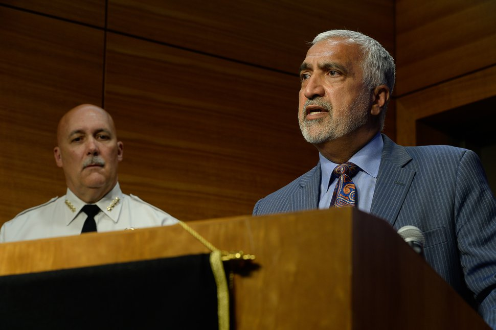 (Francisco Kjolseth | Tribune file photo) Salt Lake District Attorney Sim Gill speaks during a media briefing on June 28, 2019. Salt Lake City Police Chief Mike Brown looks on.