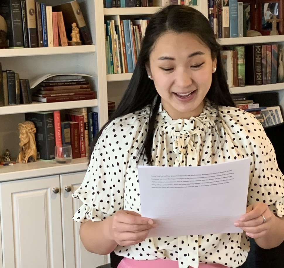 (Photo courtesy of Martha Sloan) Sister Anna Sloan reads her missionary