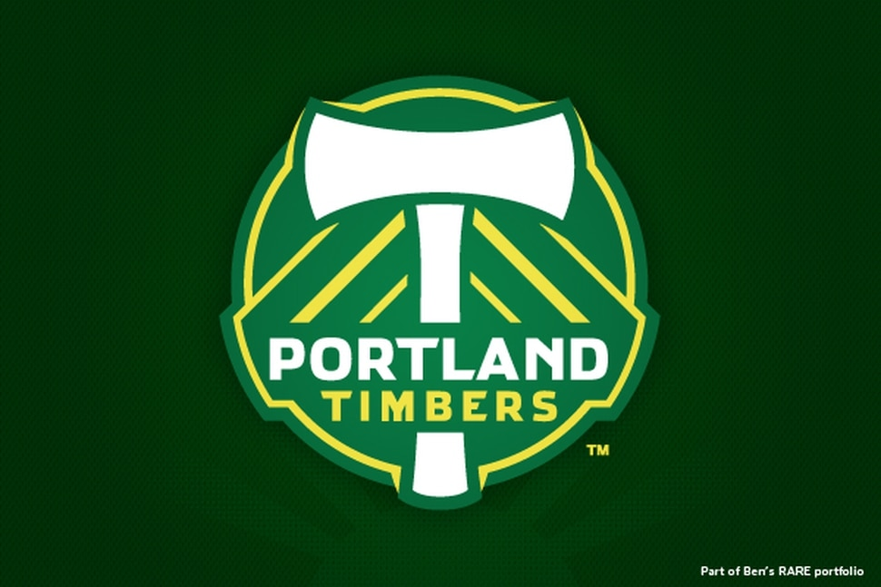 The Portland Timbers logo upon their entry to MLS, designed by RARE Design with Ben Barnes