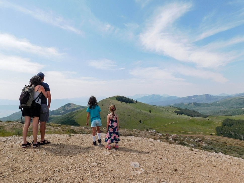 Erin Alberty|The Salt Lake Tribune - The reporter's daughter, Saskia Buschmann, joins friend Imogen Nesse, 7, in scouting the Ontario Trail in Summit County for signs of the