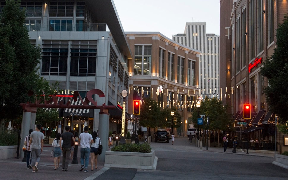 (Rick Egan | The Salt Lake Tribune) In downtown Salt Lake City in 2017 sales tax receipts for hospitality industries, restaurants and bars, exceeded those for retail, meaning folks are coming downtown more for nightlife than for shopping. Tuesday, June 26, 2018.