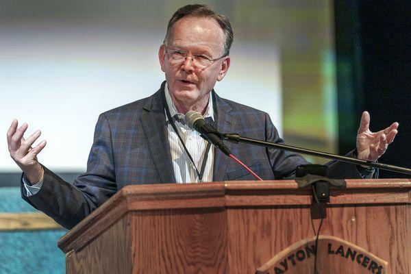 (Leah Hogsten | The Salt Lake Tribune) Senate President Stuart Adams, R-Layton talks about rejecting mandatory vaccines at the Utah Republican Party's Central Committee meeting, Sept. 18, 2021 at Layton High School.