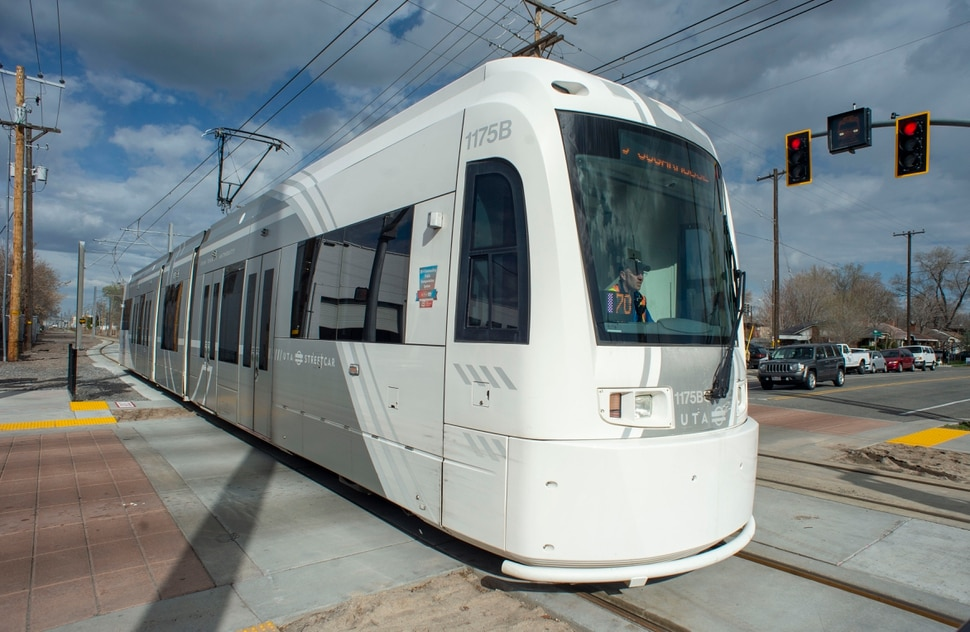 (Rick Egan | The Salt Lake Tribune) The S-Line Sugar House Streetcar heads east on the new double-track rail line, Friday, April 5, 2019.