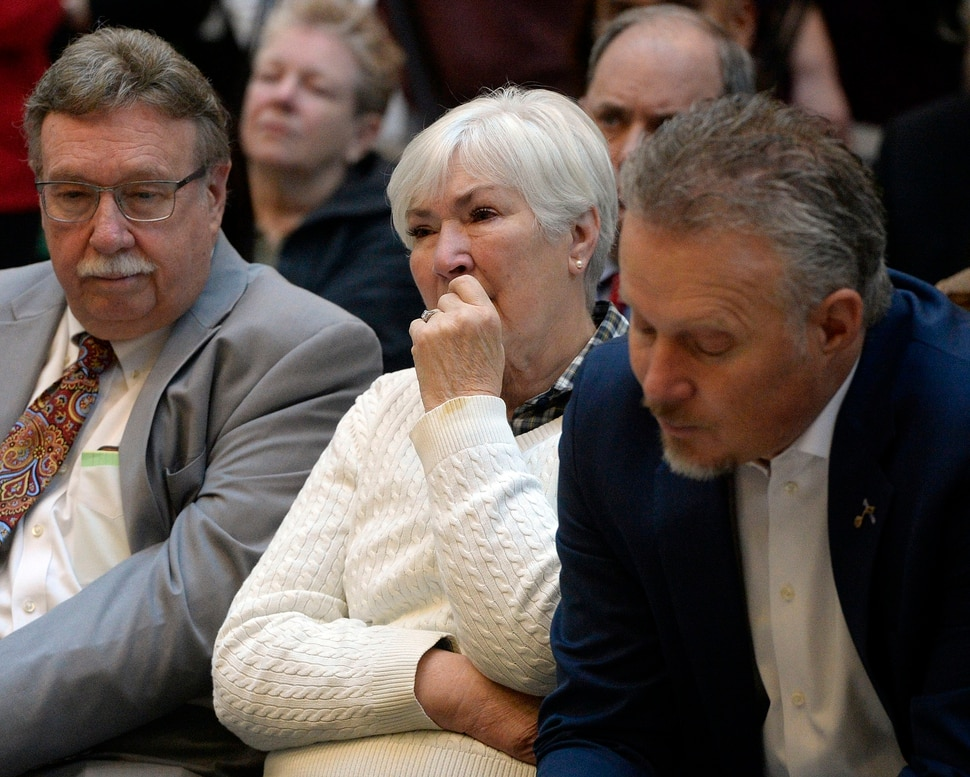 (Al Hartmann | The Salt Lake Tribune) Husband Kim Wilson, left, Gail Miller and son Greg Miller well up with emotion as they listen to a talk from Larry Miller's grandson, Zane Miller about his grandfathers struggle with diabetes near the end of his life. The Millers announced that the University of Utah will receive a $5.3 million gift from Larry H. and Gail Miller Family Foundation to fight diabetes, called Driving Out Diabetes: A Larry H. Miller Wellness Initiative.
