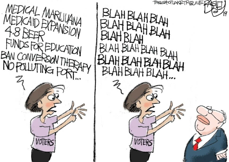 This Pat Bagley cartoon appears in The Salt Lake Tribune on Friday, April 26, 2019.