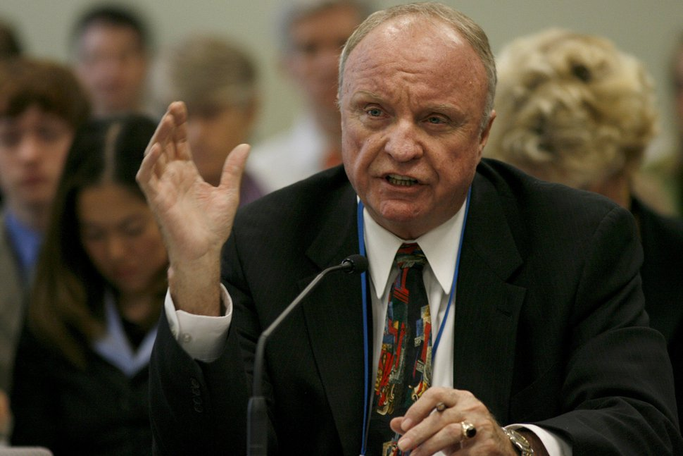(Chris Detrick | Tribune file photo) In this 2006 file photo, Sen. Chris Buttars discusses SB96: Public Education — Instruction and Policy Relating to the Origins of Life. The bill passed 4-2-1. Buttars died Sept. 10, 2018, of complications from diabetes. He was 76.