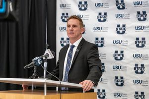 (Photo courtesy of Wade Denniston, Utah State University) Blake Anderson speaks at a ceremony in Logan on Monday, Dec. 14, 2020, officially introducing him as Utah State University's 29th head football coach.