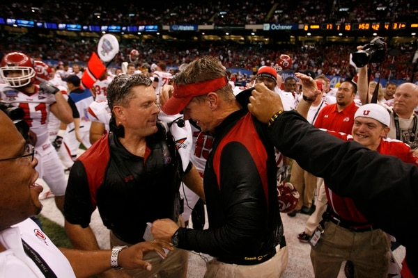 Scott Sommerdorf | The Salt Lake Tribune Utah head coach Kyle Whittingham and defensive coordinator Gary Andersen celebrate after the Utes defeated Alabama in the 75th annual Sugar Bowl in New Orleans, Friday, January 2, 2009.