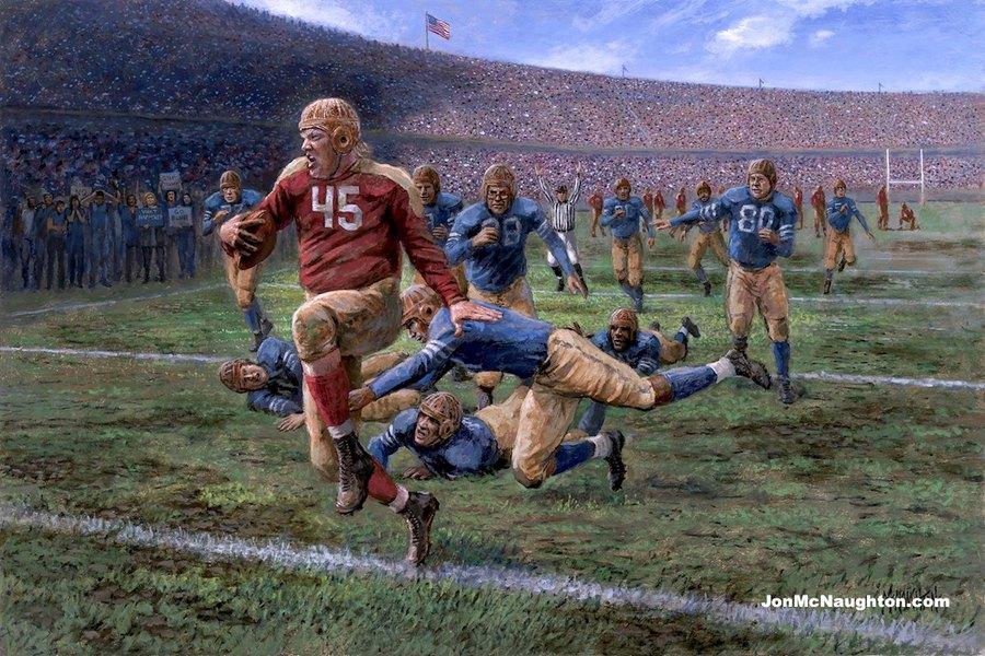 5c2ead76b0c Provocative Provo artist's latest pro-Trump painting portrays the president  triumphant on a football field